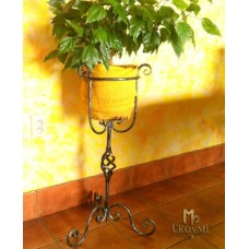 A wrought iron flowerpot