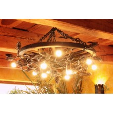 A wrought iron light - a wrought iron chandelier Pine (SI0410)