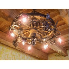 A wrought iron chandelier - wheel -Vine V (SI0211)