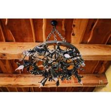 A wrought iron light - a wrought iron chandelier Oak (SI0312)