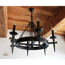 A historical wrought iron lighting 'ANTIK' - six-candle chandelier (SI0816)