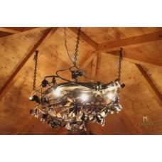 A wrought iron light - a wrought iron chandelier Oak (SI0311)
