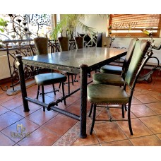 Luxury dining room set - wrought iron table and chairs (NBK-54)