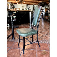 Luxury wrought iron chair with leather - wrought iron furniture (NBK-57)