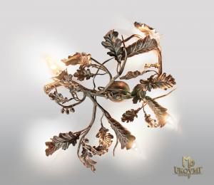 A wrought iron light Oak (SI0315)